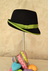 Hat - Ladies' Fedora with Green Contrast Banding