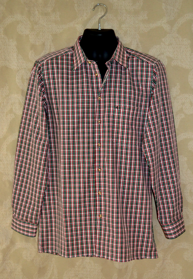 Men 39 s plaid shirt green red white sale trachten quelle for Red and white plaid shirt mens