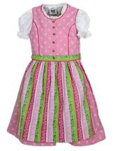 Girls' Dirndl Pink with Striped Apron