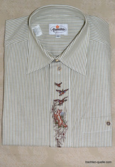Men's Trachten Shirt Green Stripe with Fox Motif