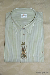 Men's Trachten Shirt Green Stripe with Deer Motif