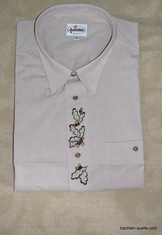 Men's Trachten Shirt with Oak Leaf Motif Embroidery