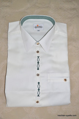 Men's Trachten Shirt with Green Embroidery Detail SLIM FIT