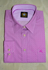 Men's Casual Shirt Magenta and White Print