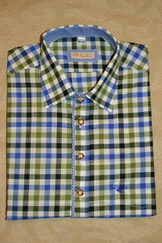 Men's Casual/Trachten Shirt  Blue Forest and Loden Green Check