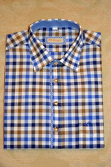 Men's Casual/Trachten Shirt Navy Blue Taupe Check