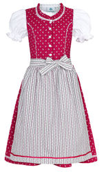 Girl's Infant Dirndl Magenta with Stripe Apron and Blouse