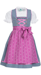 Girl's Dirndl Blue with Pink Apron and Blouse