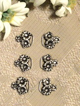 Dirndl Hooks Flowers with Clear Rhinestone Centre (set of 6)