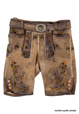 Lederhosen Eichinger Antique Taupe/Brown with Green