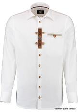 Men's Trachten Shirt White with Embroidered Placket Applique  Slim Fit