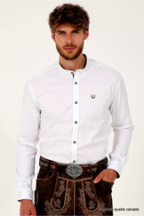 Men's Trachten Shirt Ryan Collarless White Slim Fit