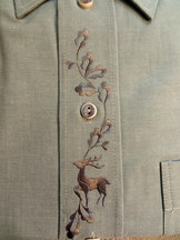 Men's Trachten Shirt Light Olive Green with Embroidered Deer Motif