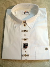Men's Trachten Shirt White with Wild Turkey Embroidered Motif