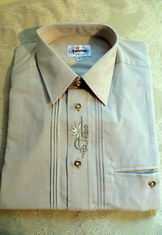 Men's Trachten Shirt Pale Olive Green with Embroidered Placket