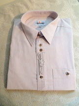 Men's Trachten Shirt Light Taupe with Front Placket Embroidered Detail