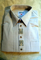 Men's Trtachten Shirt Light Olive/Sage Green with Two-tone Embroidery